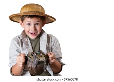 little archaeologist with pot of gold and jewelry