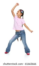 Little Asian beautiful girl dancing and imagines that sings. Happy girl isolated on white background.