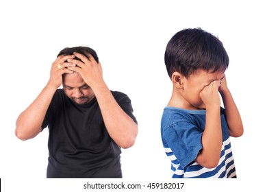little asian boy angry his father,black and white tone