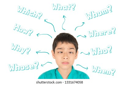 Little asian boy in face with question word mind map