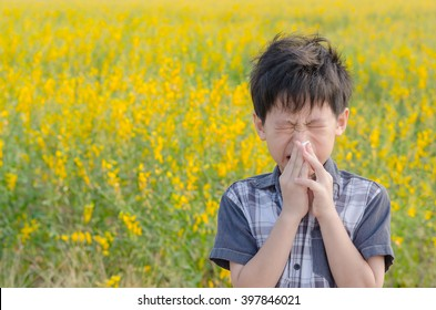 Little Asian boy has allergies from flower pollen,boy has running nose in flower field and wipe his nose by tissue paper.