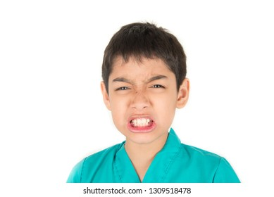 Little asian boy making fun face multi emotions