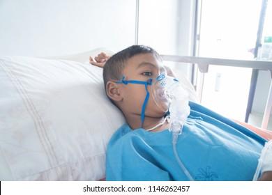 Little asian boy sick asthma