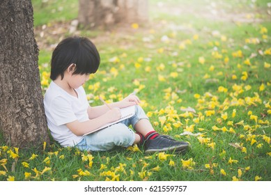 Little Asian boy sitting under the tree and drawing in notebook at park