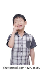 Little Asian boy thinking over white background