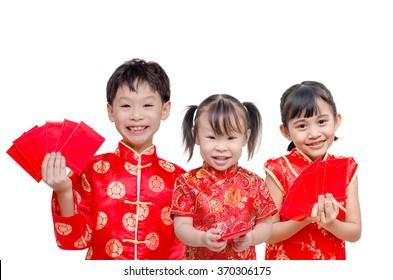 Little Asian children holding red packet money over white