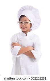 Little asian girl chef in uniform wearing glasses isolated on white background