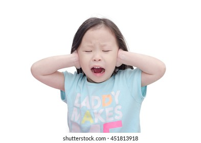 Little asian girl cover her ears by hands over white background