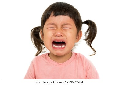 Little asian girl  cry on white background