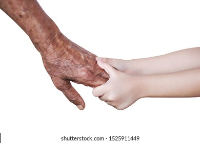 Little asian girl grandchild holding grandma hands  , care and support in family concept isolated on white background with clipping path