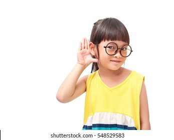 Little asian girl in hearing action