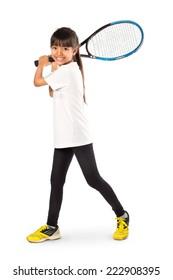 Little asian girl holding tennis racket, Isolated over white