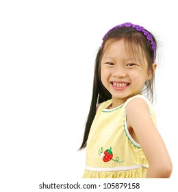 Little Asian girl isolated on white background