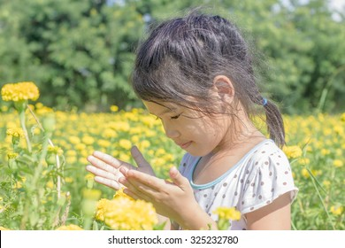 little Asian girl in marigold garden