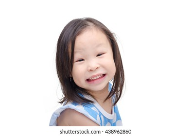 Little asian girl  smiles over white background