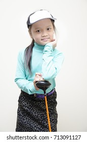 Little asian girl training in golf sport girl isolate on white with clipping path