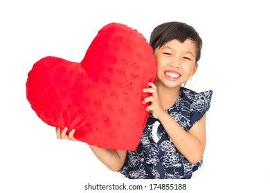 Little asian girl with Valentine heart isolate on white background
