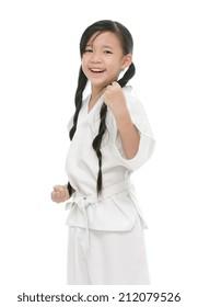 Little asian girl in white kimono