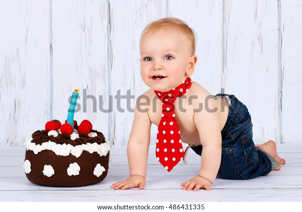 Incredible Little Baby Boy Birthday Cake Stock Photo Edit Now 486431335 Funny Birthday Cards Online Inifodamsfinfo