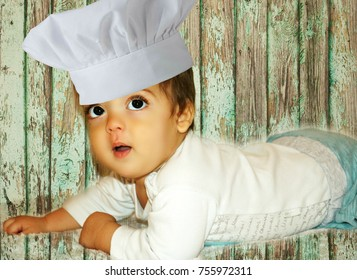 Little baby  boy as chef