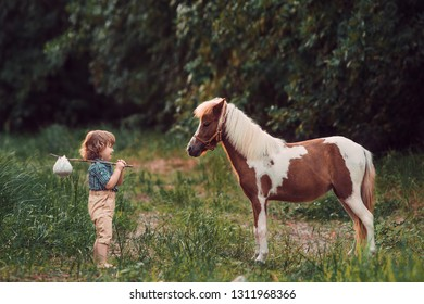 Little baby boy with curly hair dressed as hobbit walking with piebald pony horse in summer forest