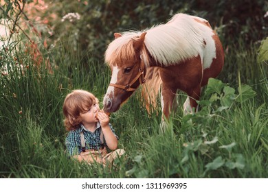 Little baby boy with curly hair dressed as hobbit eating loaf of bread and playing with piebald pony horse in summer forest