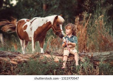 Little baby boy with curly hair dressed as hobbit with pipe in his hands playing with piebald pony horse in summer forest