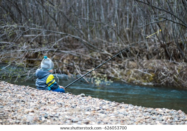 c6d4f7a2cedf6 Little Baby Boy Fishing On Bank Stock Photo (Edit Now) 626053700