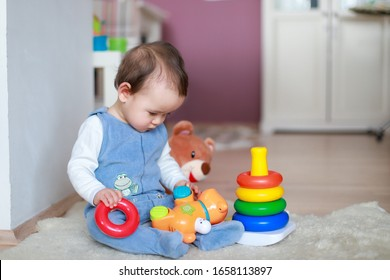 Little baby boy playing with animal toy and colorful developing pyramid at home. Mixed race Asian-German infant about 8-9 months old play and learn concept.