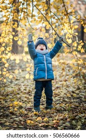 Little baby boy in a warm and fashionable clothes in the autumn forest