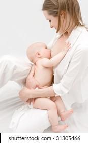 Little baby breast feeding.