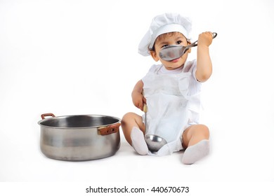 64885f2d55d Little Baby Chefs Hat Ladle Hand Stock Photo (Edit Now) 440670640 ...