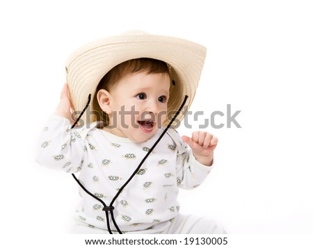 3e696a6af1f4f Little Baby Cowboy Hat On White Stock Photo (Edit Now) 19130005 ...