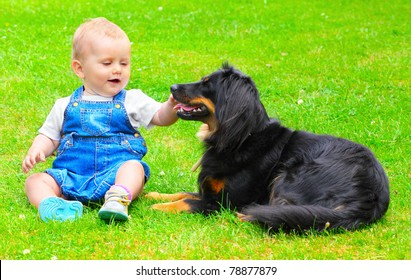 Little baby with dog on a grass.