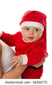 Little baby dressed as Santa Claus. Infant as Santa Claus