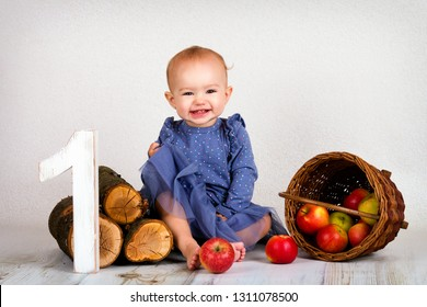 Little baby girl celebrating her first birthday, sitting on the floor with wicker basket full of apples and smiling