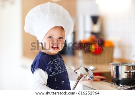 57c8102f174 Little Baby Girl Chef Hat Inside Stock Photo (Edit Now) 616252964 ...