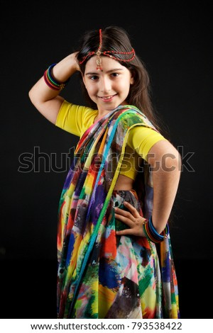 b284d03895f5 Little Baby Girl Dressed Sari Indian Stock Photo (Edit Now ...