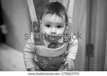 631911350 Little Baby Girl Jumping Jumpers Walker Stock Photo (Edit Now ...