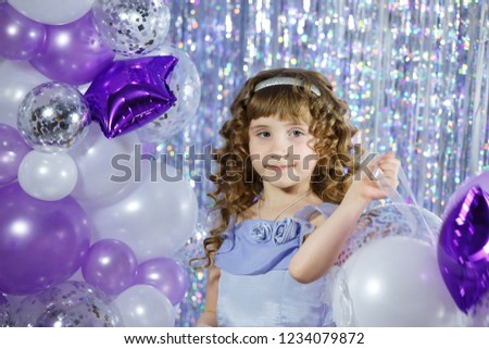 Little Baby Girl Playing Purple Pink Stock Photo Edit Now