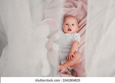 A little baby lays on a bed with a toy rabbit and smiles in the room