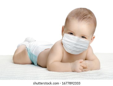 little baby in medical mask, on white background, isolated. Concept covid-19 coronavirus pandemic