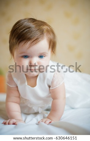 4ee687162 Little Baby White Dress Portrait Baby Stock Photo (Edit Now ...