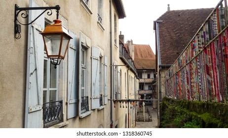 little backyard alley leading to Hotel de Champagney, renaissance style building and touristic attraction in Besancon city, Franche Comte region, France, Europe