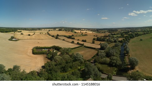 Little Baddow near Chelmsford, Essex.  Aerial view of fields and farms surrounding River Chelmer canal and locks