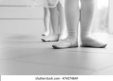 Little ballerinas standing in a row at ballet class