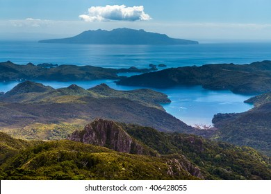 Little Barrier Islands view from mt Hobson, Great Barrier Island, New Zealand