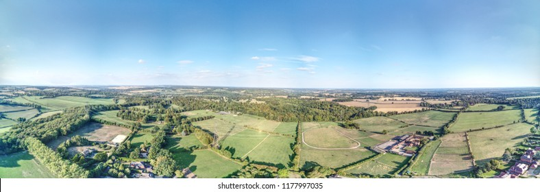 Little Basildon near Reading UK - Aerial views of typical small village in summer.