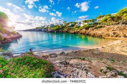 Little beach Cala Esmeralda, Cala d'Or city, Palma Mallorca, Spain.