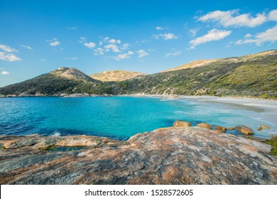 Little Beach with white sand, beautiful sapphire blue shade of sea water, Mt Gardner at Two peoples Bay conservation reserve in Albany, Western Australia.